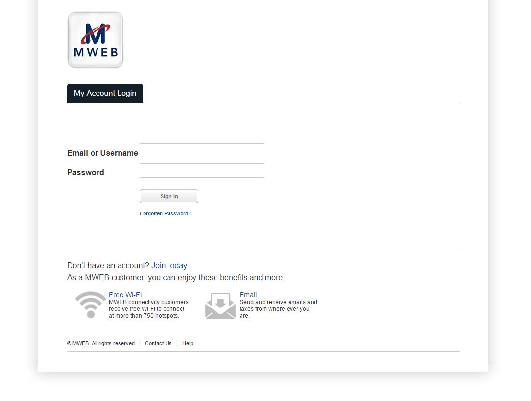 MWEB My Account ScreenShot