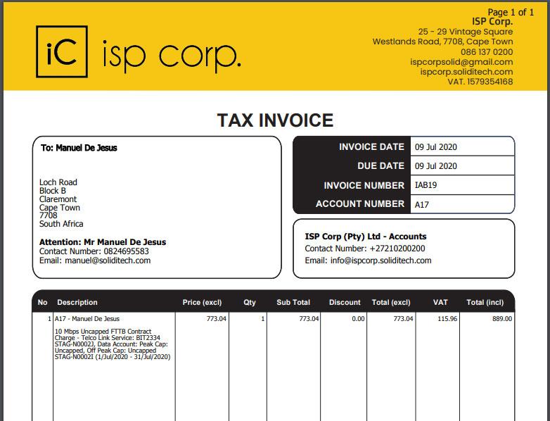 ISP Invoice